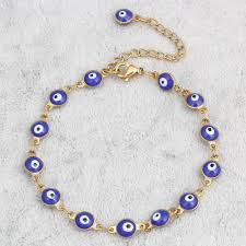 bracelet blue evil eye images Gold plated stainless steel enamel evil eye chain bracelet jpg