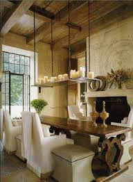 french country dining room ideas with long table and armless