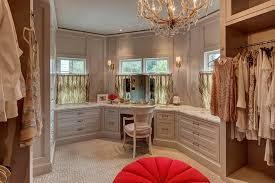 Built In Vanity Dressing Table Gray Walk In Closet With Makeup Vanity Below Window Transitional
