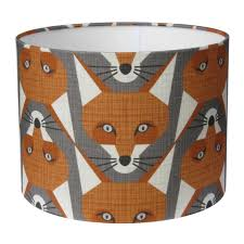 handmade fox lampshade in foxy orange