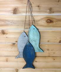 rustic wooden fish wooden rustic fish painted string of fish