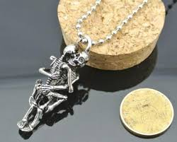 metal necklace men images Men infinity tibet silver black stainless steel skull pendant jpg