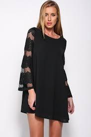 black shift dress flared sleeves o neck layered black shift dress mini