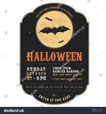 vintage halloween invitation flying bats stock vector 153651092