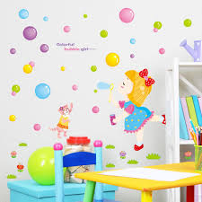 Bedroom Wall Stickers For Toddlers Colorful Cartoon Blowing Bubbles Baby Room Bedroom Wall