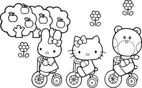 hello kitty and friends bicycle coloring pages cartoon coloring