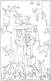 raining cats and dogs colouring in drawing suitable for children