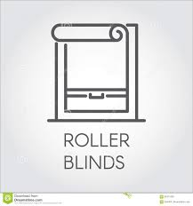 window roller blinds icon in outline style pictograph for home