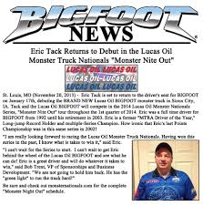 bigfoot monster truck schedule news u2013 2013 u2013 lucas oil bigfoot to debut with driver eric tack