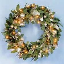 premier pre lit gold bay leaf wreath winter