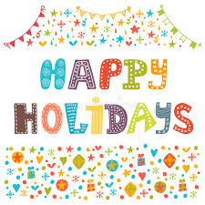 happy holidays greeting card illustration for design stock