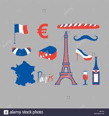 paris icons set traditional french national symbols eiffel tower