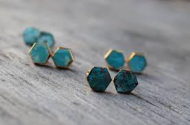 turquoise stud earrings turquoise stud earrings hexagon turquoise earrings