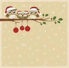 owl family christmas celebration royalty free cliparts vectors
