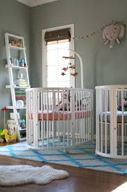 bedroom chic baby bedroom decoration with round cribs and grey