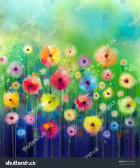 abstract floral watercolor painting hand paint stock illustration