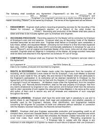 25 Professional Agreement Format Examples Recording Engineer Contract Musiccontracts Com