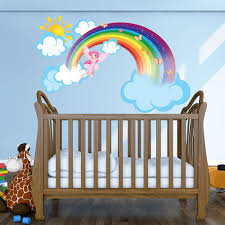 rainbow fairy wall decal with clouds and sun style and apply rainbow fairy sticker wall decal stickers style and apply