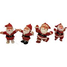 four vintage santa tree ornaments felt hollow plastic