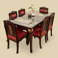six seater dining table wood 6 seater dining table chair with warli dhokra work