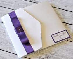 square bookfold wedding invitation with dior bow