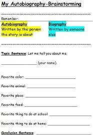 elementary language arts my autobiography writing brainstorming