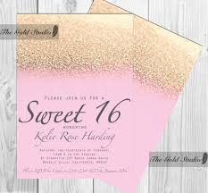 Sweet 16 Birthday Invitation Cards Modern Faux Rose Gold Glitter Sweet 16 Birthday Invitations