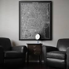 Map Room Chicago Il by Chicago Map Large Black And White Vintage Chicago Map Print