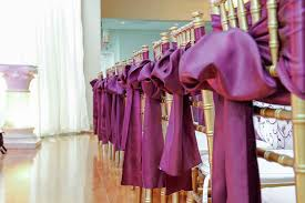 purple chair sashes cheap and low cost wedding venue specialty decor purple