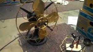 Antique Desk Fan by Westinghouse Stamped Steel Motor Brass Blade Brass Cage 12