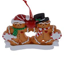 wholesale gingerbread family of 2 resin ornaments with