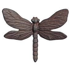 wall mounted garden ornament cast iron vintage dragonfly insect