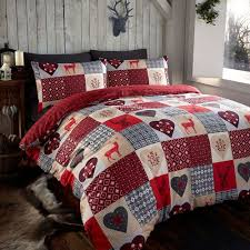thru the lens stag red hearts king quilt duvet cover and 2