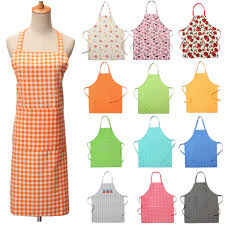 dot lattice floral pattern cooking apron kitchen adjustable