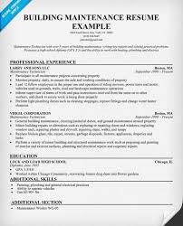 Resume For Maintenance Engineer Building Maintenance Resume Resume Templates