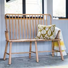 alpine contemporary spindle back oak loveseat bench hall bench