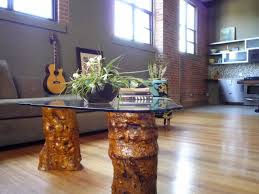 tree trunks coffee table with top glass guideline to make a