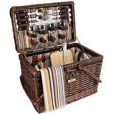 picnic basket set for 4 vintage styling wicker picnic basket set for 4 brown