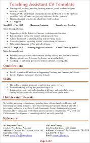 Special Education Assistant Resume Teaching Cv Format Teacher Cv Template Lessons Pupils Teaching