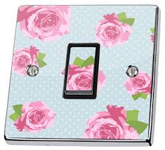 Shabby Chic Light Switch Covers by Blue Shabby Chic Pink Roses Light Switch Sticker Vinyl Skin Cover