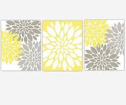 Yellow And Gray Nursery Decor Yellow Gray Grey Flower Burst Dahlia Mums Modern