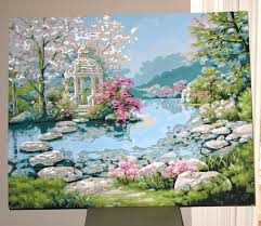 japanese garden by bucilla u2013 paint by number is not just for kids