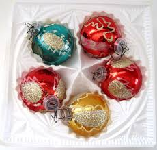 w germany vintage christmas ornaments box of 5 hand blown