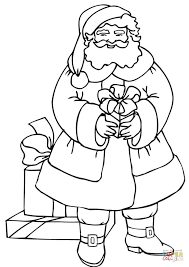 santa holding gift coloring free printable coloring pages
