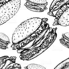 sketch hamburger or burger vector seamless pattern fast food