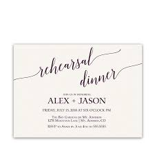wedding rehearsal invitations purple script handwriting wedding rehearsal invitations