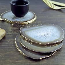 agate coasters gold plated agate coasters set of two agate coasters