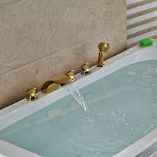 bathtub faucet set brand new brass golden 5pcs waterfall spout bathtub faucet set