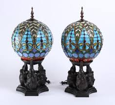 pair tiffany style lamps with elephant base table lamps ha