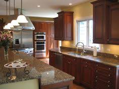 Kitchen Design Cherry Cabinets by Transitional Kitchen Cherry Cabinets With Golden Beaches Granite